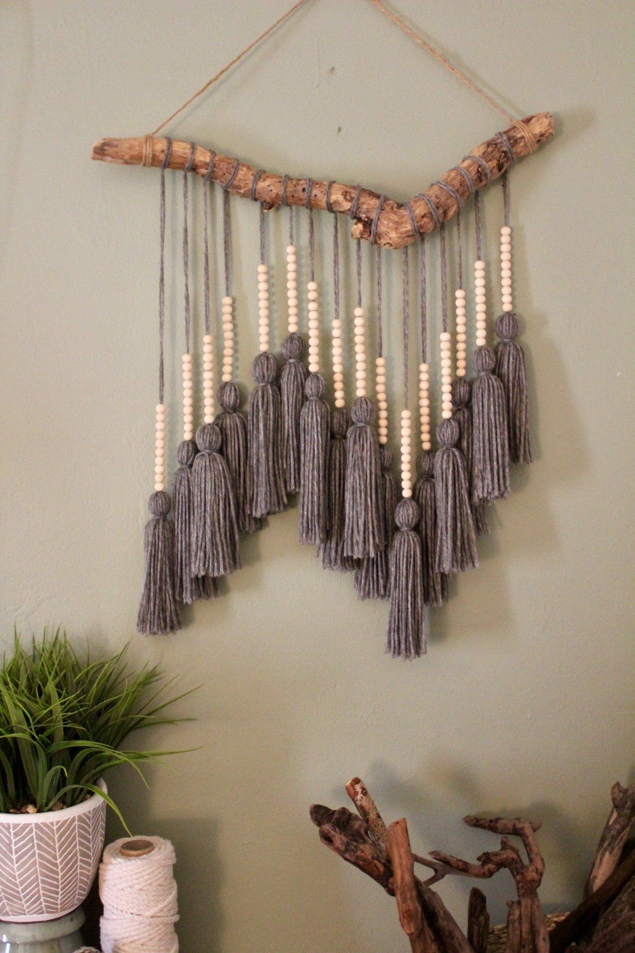 beaded gray tassel hanging yarn wall art on wall hangings id=15499