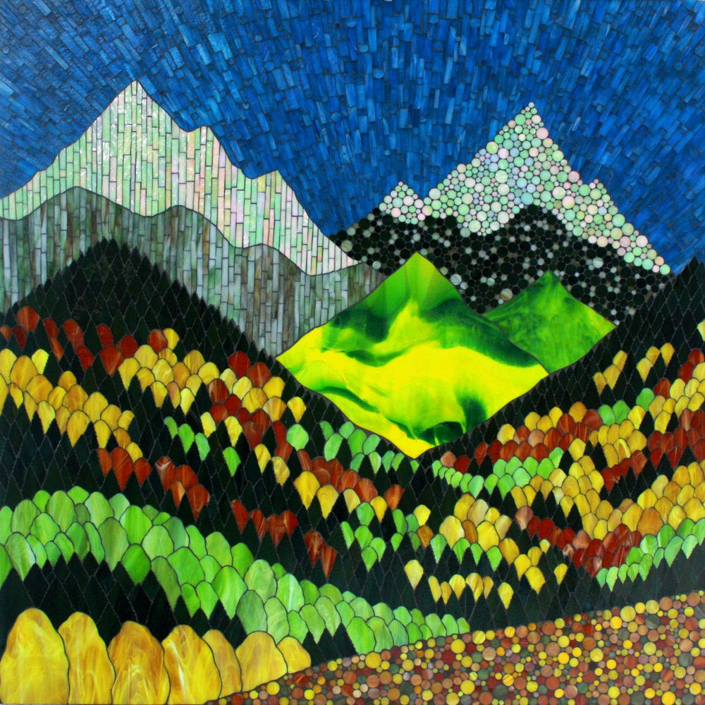 Impressions of a Colorado Fall - a stained glass mosaic by Kasia Polkowska…