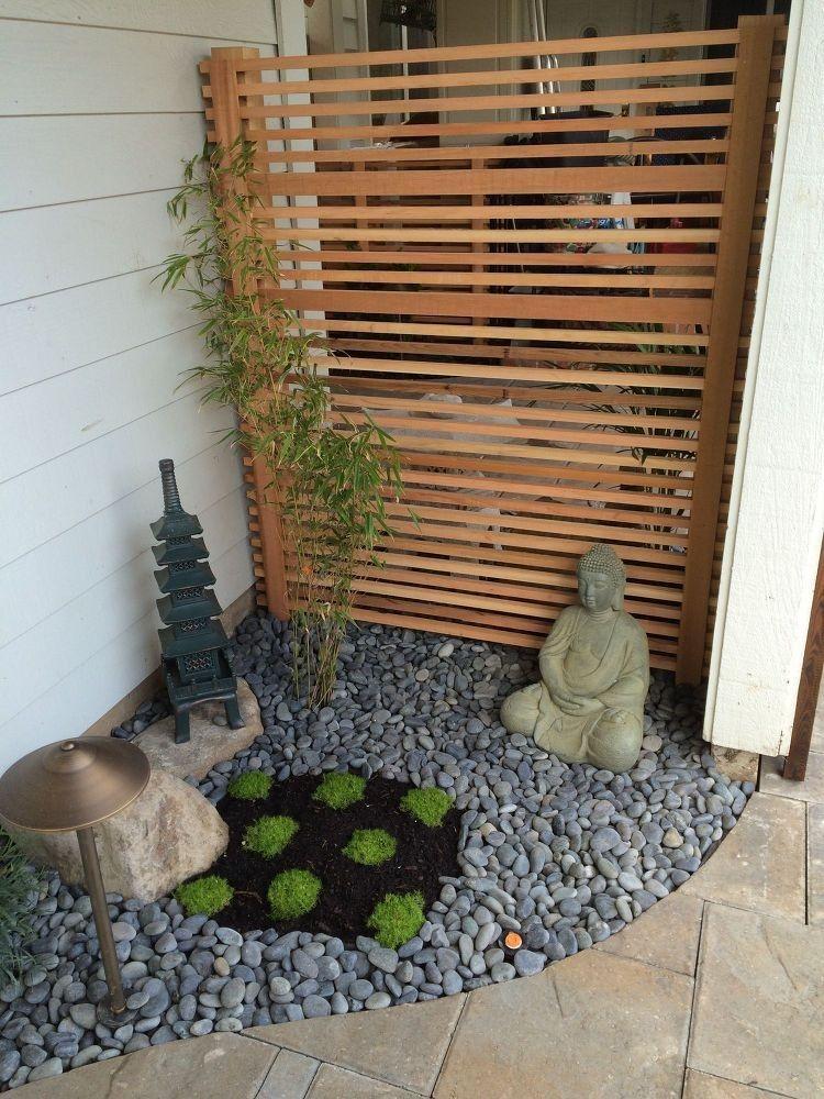 kleiner japanischer garten ecke steine buddha gartenfigur #garden ...