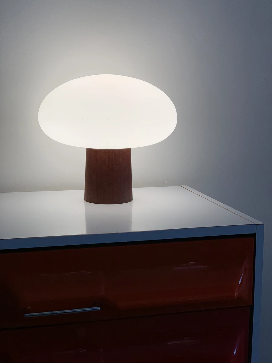 Mid Century Teak Base Laurel Lamp W Frosted Glass Mushroom Shade In 2020 Lamp Frosted Glass Frosted Lamp