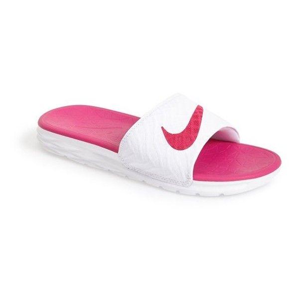 quality design 244ea ecc15 Women s Nike  Benassi Solarsoft 2  Slide Sandal ( 32) ❤ liked on Polyvore  featuring shoes, sandals, pink, strappy sandals, pink strappy sandals, ...