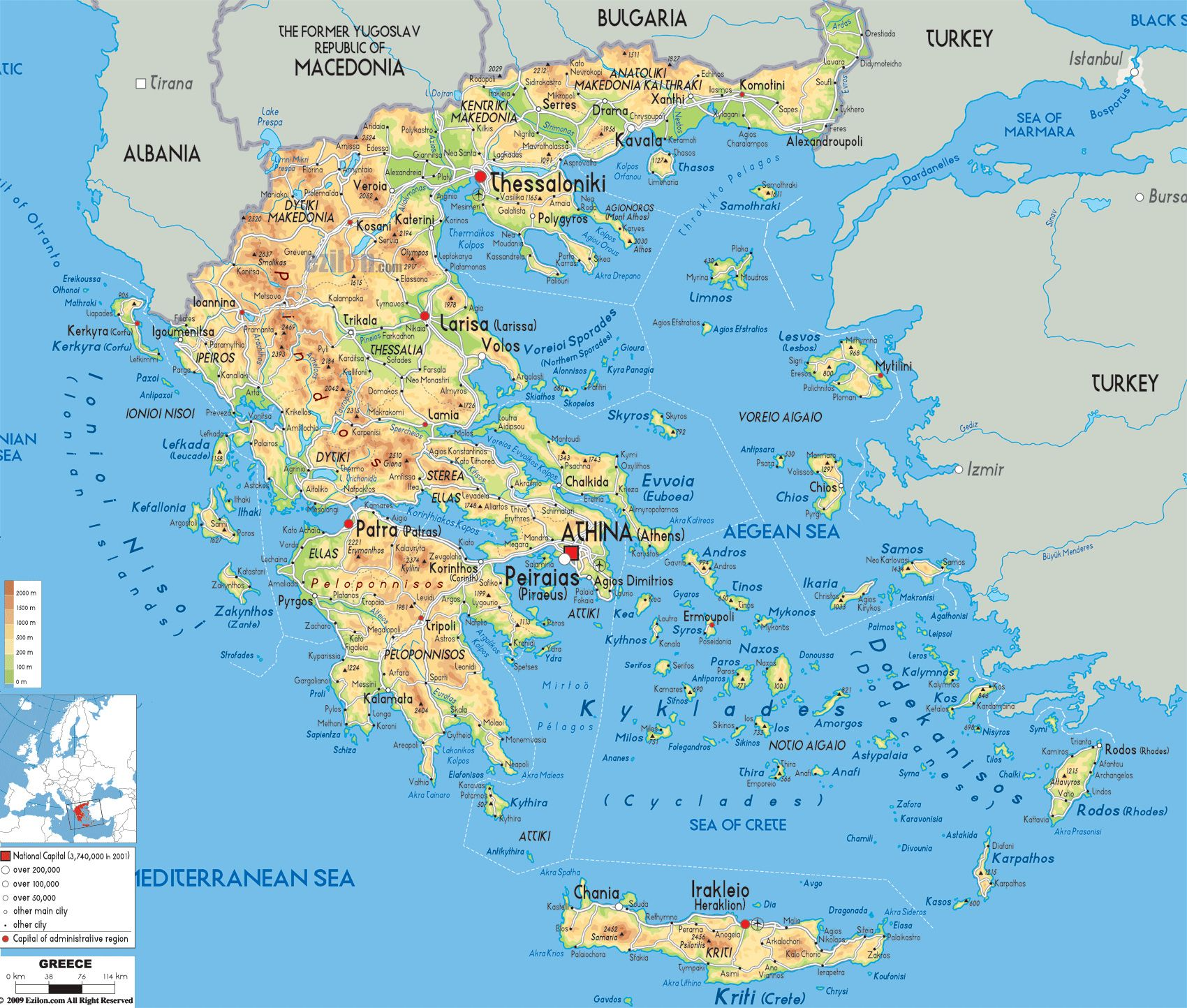 Detailed physical map of Greece with cities roads and airports