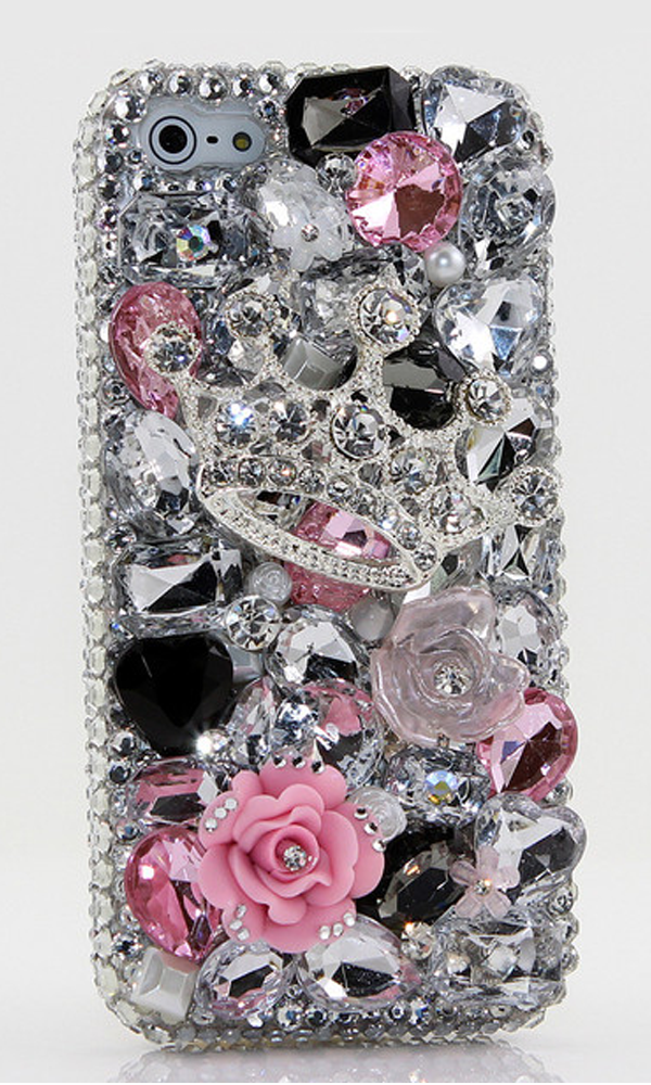 Tiaras and Trinkets handmade 3D Bling case Design for iPhone 5/ 5s, iPhone 4/ 4s,  iPhone 6/ 6s Plus, Samsung Galaxy (S3, S4, S6 Edge), Galaxy Note( 2, 3, 4, 5), Nokia Lumia, Black Berry, LG, Motorola and for most  phone/device. http://luxaddiction.com/collections/3d-designs/products/tiaras-and-trinkets-design-style-391