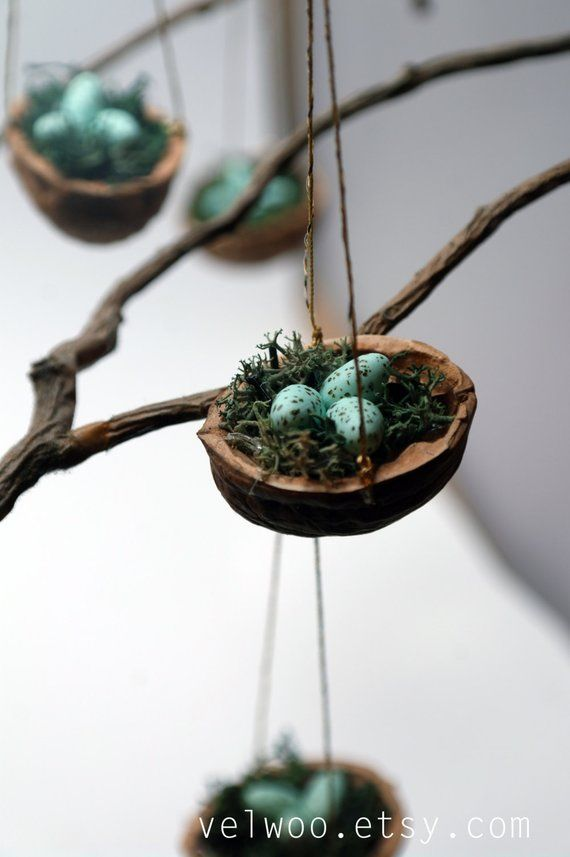 Set of Bird Nest Ornaments Christmas Tree, bird eggs, Woodland Holiday Decor, Decoration Tabletop Di