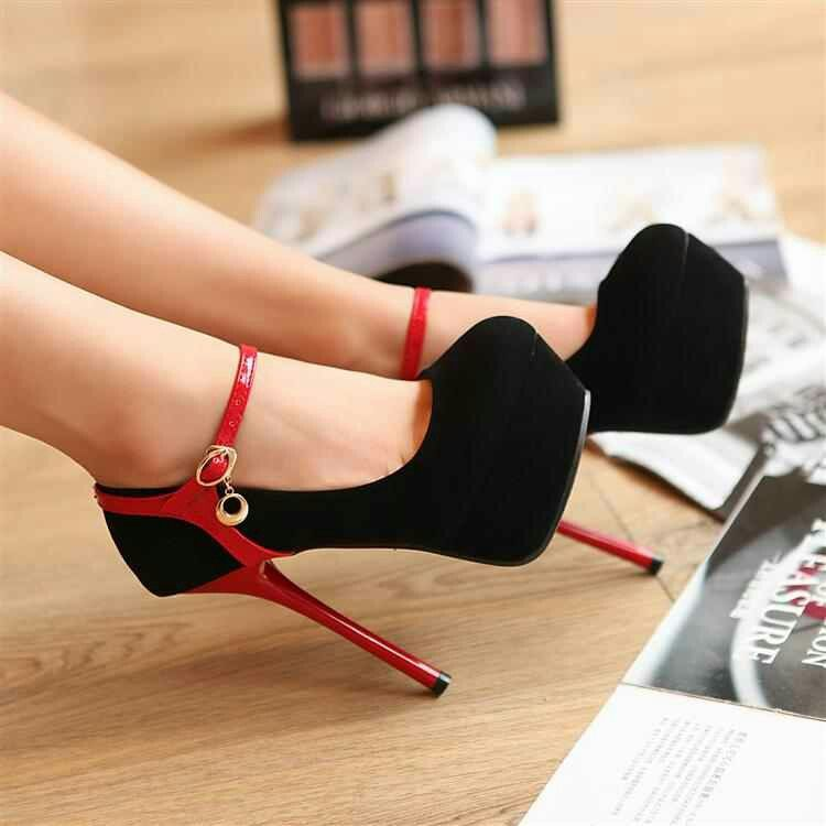 Red skinny strap around the ankle makes these pumps cute with any outfit :)