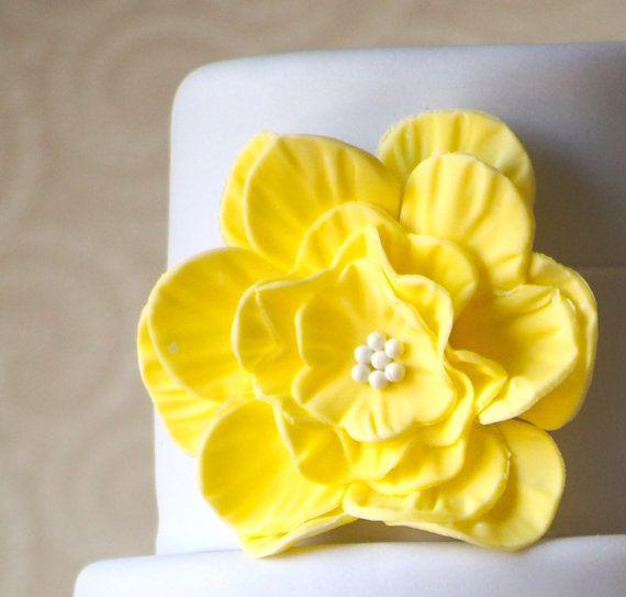 Giant flower cake embelishment sunshine yellow edible fondant giant flower cake embelishment sunshine yellow edible fondant birthday shower wedding on mightylinksfo
