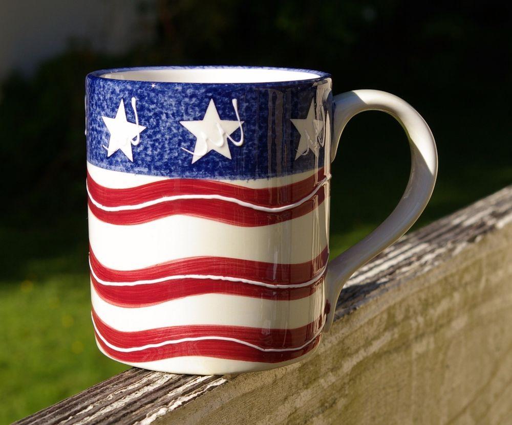 PATRIOTIC STARS /& STRIPES American Flag 16 oz Coffee Mug Tea Cup Red White Blue