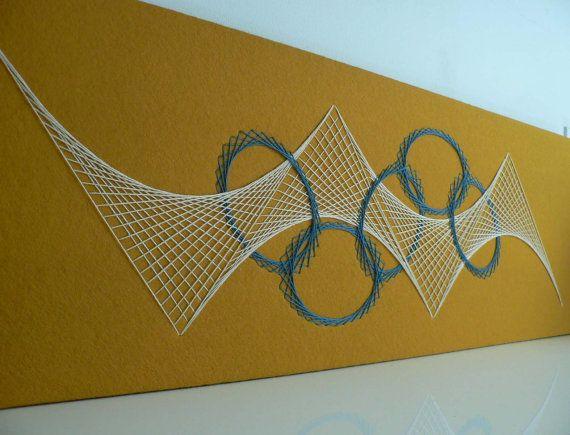 String Wall Art mid-century abstract string art wall decor/ vintage 1960s wall art
