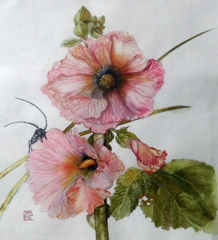 Peinture Tableau Art Contemporain Fleurs Les Roses Tremieres