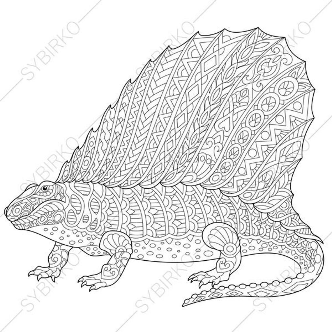 Dimetrodon Dinosaur Dino Coloring Pages Animal Coloring Book