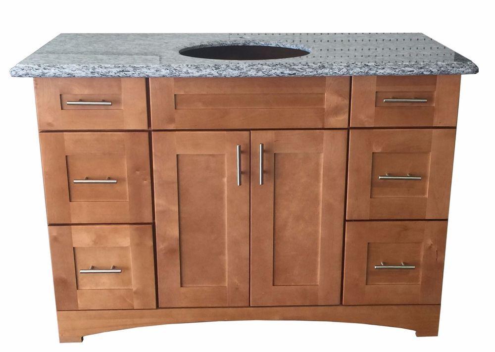 New Maple Shaker Single Sink Bathroom Vanity Base Cabinet 48 Wide