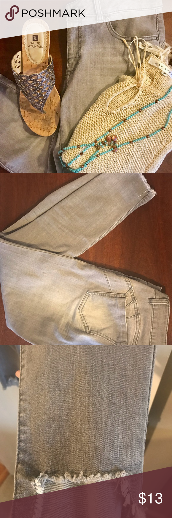 Gray Distressed Jeans Cute Skinny Jeans With Frayed Ankle Worn Very Little Great Condition Miss Poured In With Images Metallic Shoes Distressed Jeans Michael Kors Tops