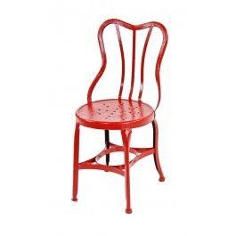 """c. 1910-16 vintage american """"uhl art steel"""" red enameled pressed heavy gauge steel ice cream fountain chair"""