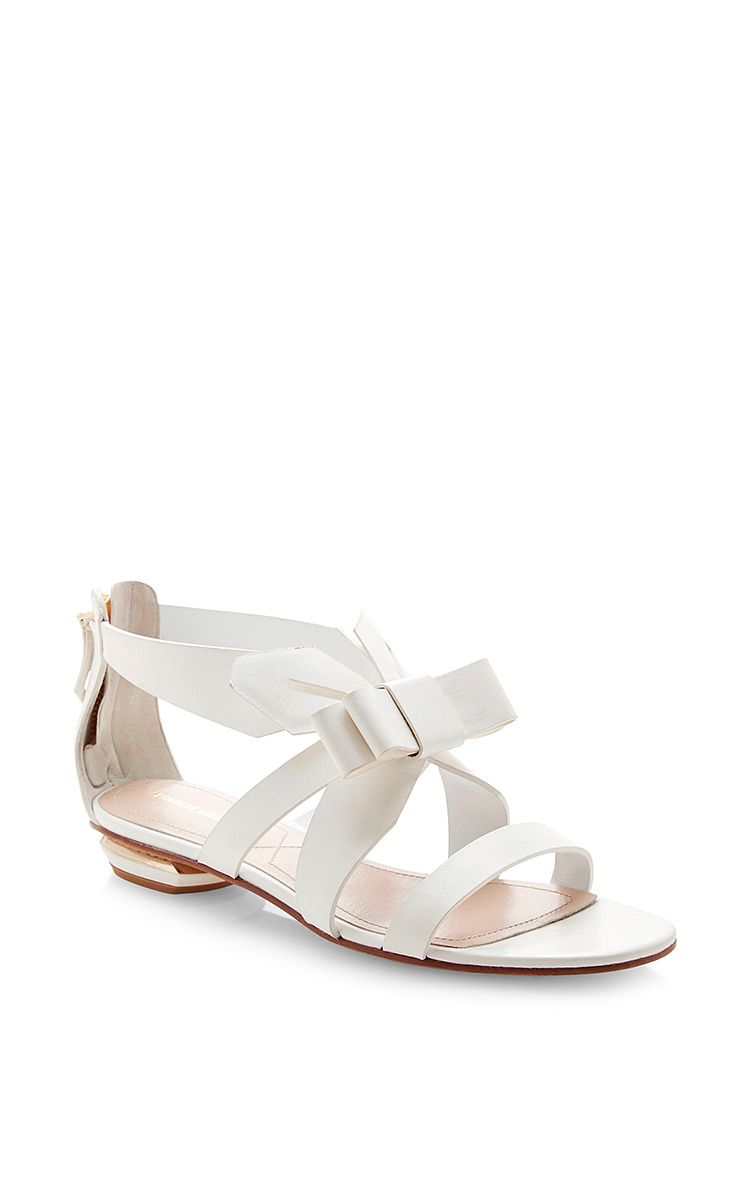 5f3c234c339de0 Origami Front Bow Flat Sandal by Nicholas Kirkwood Now Available on Moda  Operandi