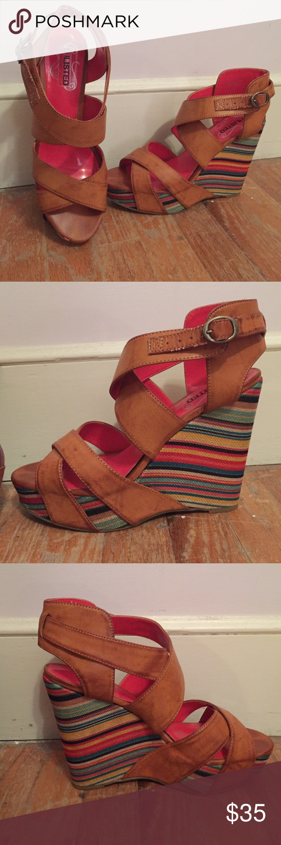"Rainbow Wedges 4"" wedge on back and 1"" platform under the toe. All color wedge with brown straps. Only worn twice. **send an offer** Shoes Wedges"