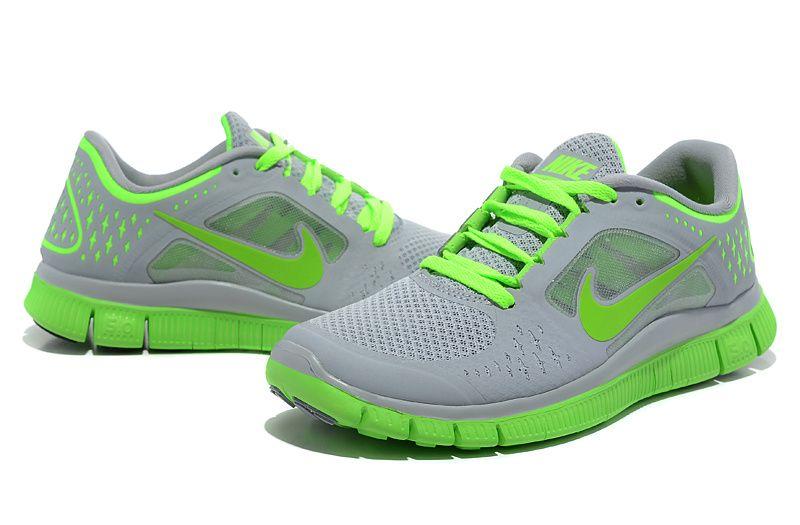 womens nike free run+ 3 shoes grey green