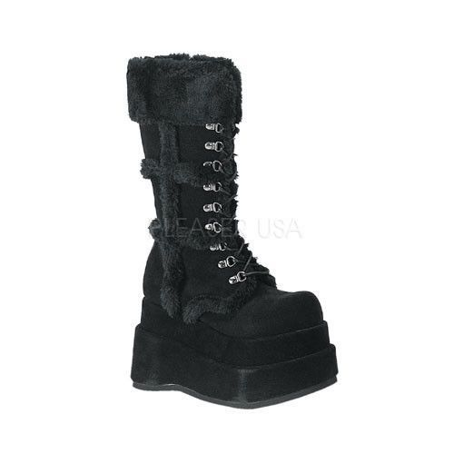 DEMONIA BEAR-202 Black Veggie Suede Vegan Boots