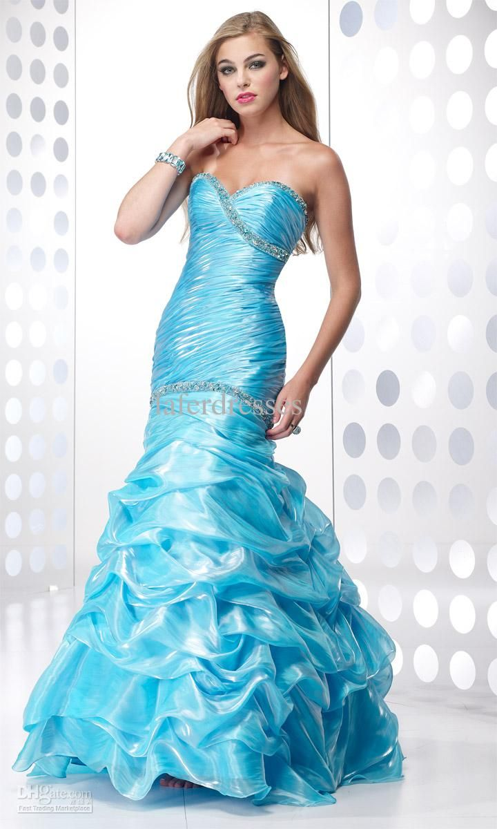 Images of Blue Mermaid Prom Dresses - Reikian