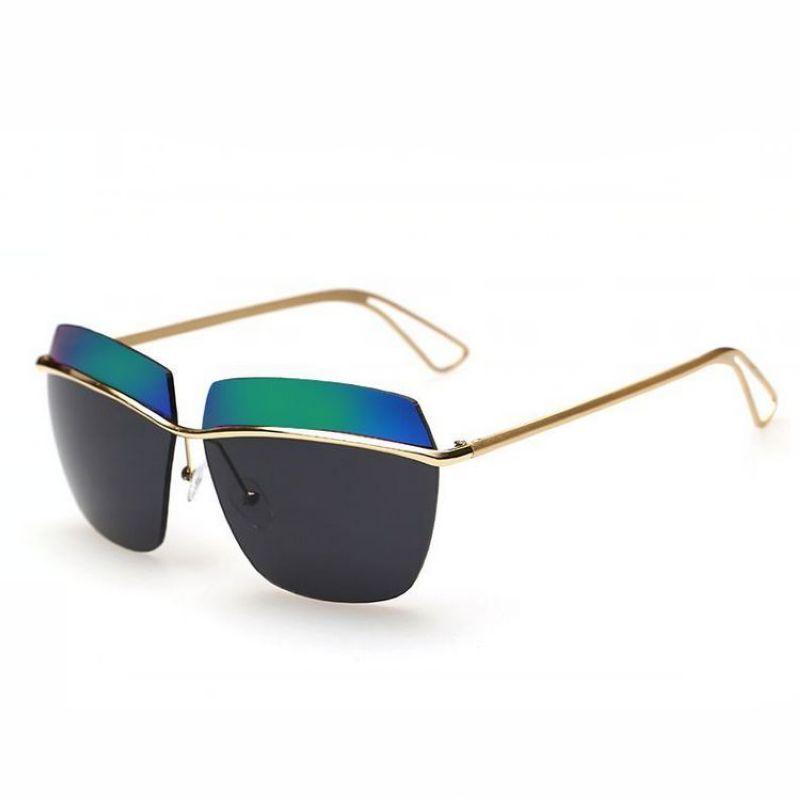 Modern Chic Geometric Shaped Silver Metal Frame Green Mirrored Lens Sunglasses