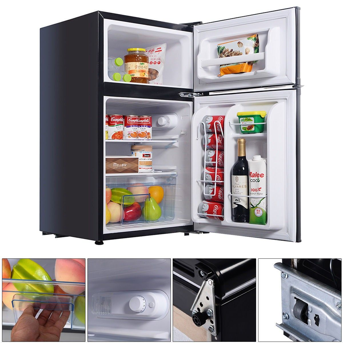 2 Door 3.4 Cu. Ft Compact Refrigerator Freezer CFC Free Furniture ...