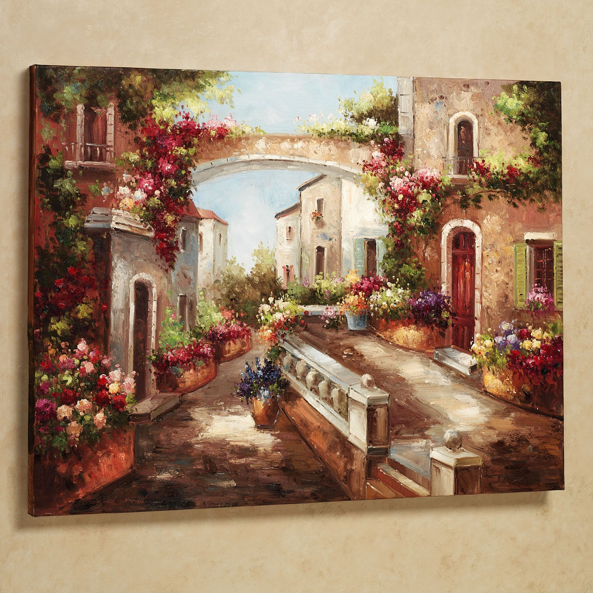 Among The Cozy Confines Of The Town, An Early Spring Is Evident With The  Abundant Flowers That Line The Streets. Handpainted Oil On Canvas Wall Art  Depicts.
