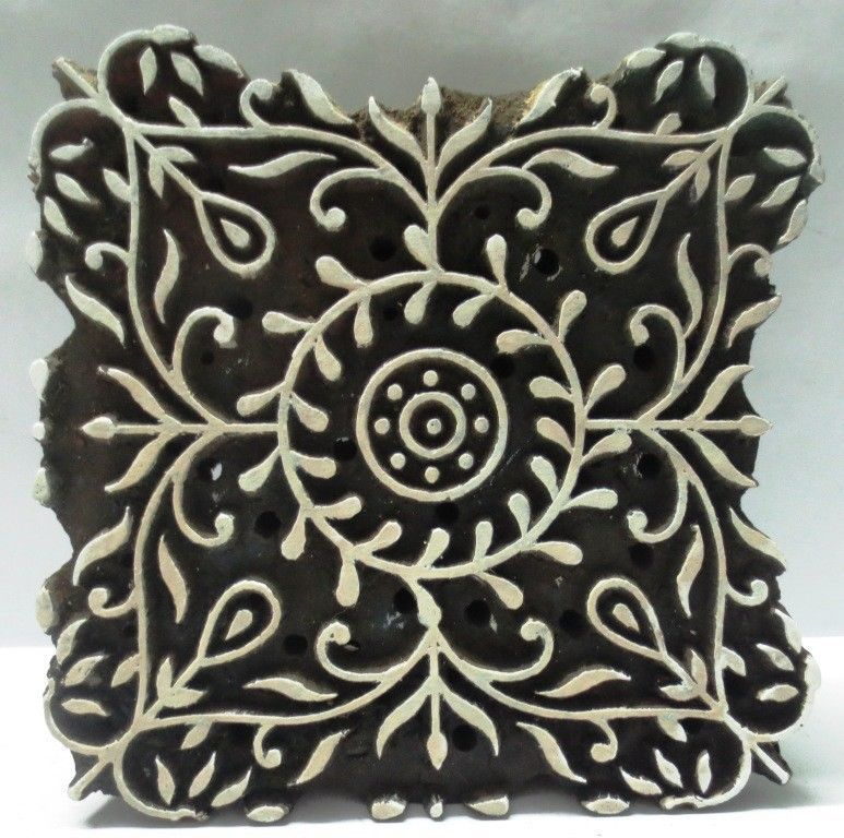 Printing & Graphic Essentials Floral Pattern Wooden Printing Blocks Indian Hand Carved Textile Stamps Various Styles