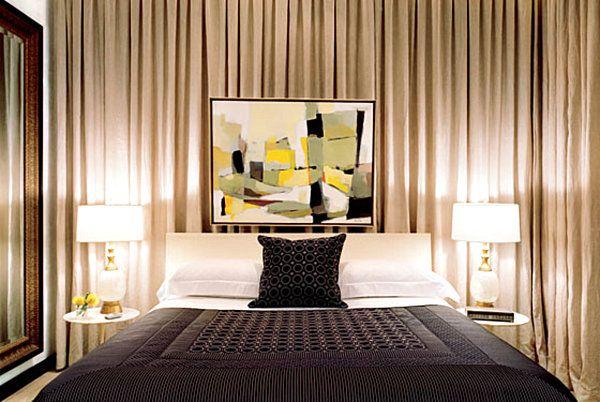 wall drapes curtains behind bed