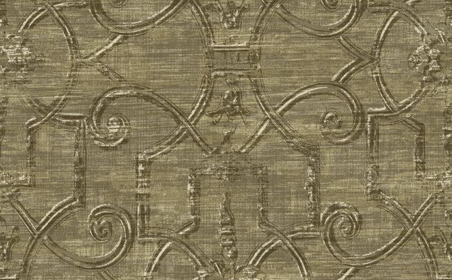 Sample Distressed Scrollwork Wallpaper in Brown and Metallic design by Seabrook Wallcoverings