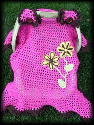 Spring Flowers Car Seat Canopy Crochet Pattern Baby Girl