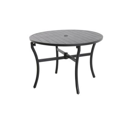 Hampton Bay Andrews Black Slat Patio Dining Table FTS60734 BR   The Home  Depot