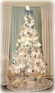 Glamorous Christmas Trees Silver And Blues Decoration Ideas