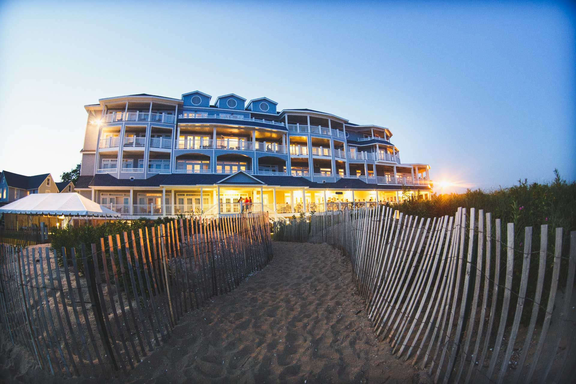On Point Images Madison Beach Hotel Wedding Exterior At Dusk In Ct