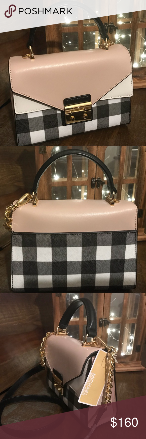 60aa690dea95 NWT Michael Kors Sloan Gingham Top-Handle Satchel NWT MK Beautiful top-handle  Sloan satchel with chain-link and leather shoulder strap,gingham print, ...