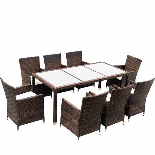 Rattan Table Chair Set Garden Patio 8 Seat Outdoor Dining Furniture ...