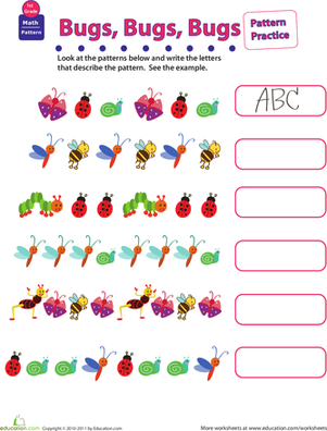 Practice Patterns Bugs Bugs Bugs Math Patterns First Grade