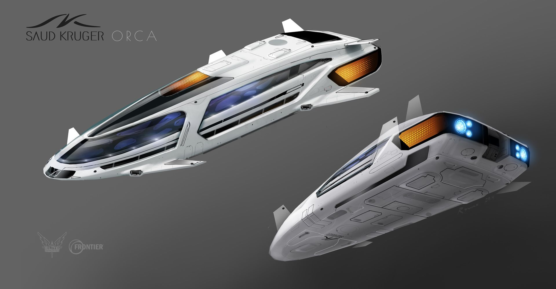 Elite dangerous ship futuristic design and scifi art for Passengers spaceship