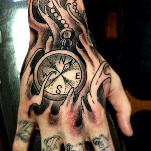 Hand Tattoo Compass Hand Tattoos For Guys Hand Tattoos Pictures Hand Tattoos