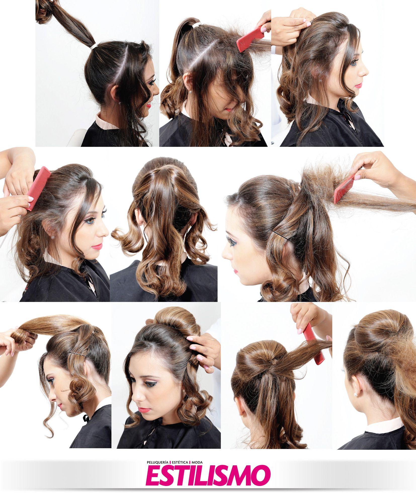 previo preparado de la cabellera con tenacillas medianas y producto fijador recoger el cabello en una coleta bien fija dejando toda la parte frontal - Peinados Con Tenacillas