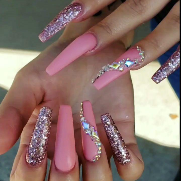 Pink glitter coffin nails   summer nails ideas   Nails ...