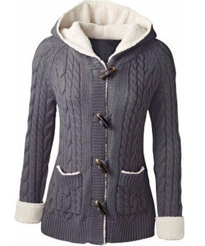 Chic Long Sleeve Solid Color Hooded Cardigan For Women | Hooded ...