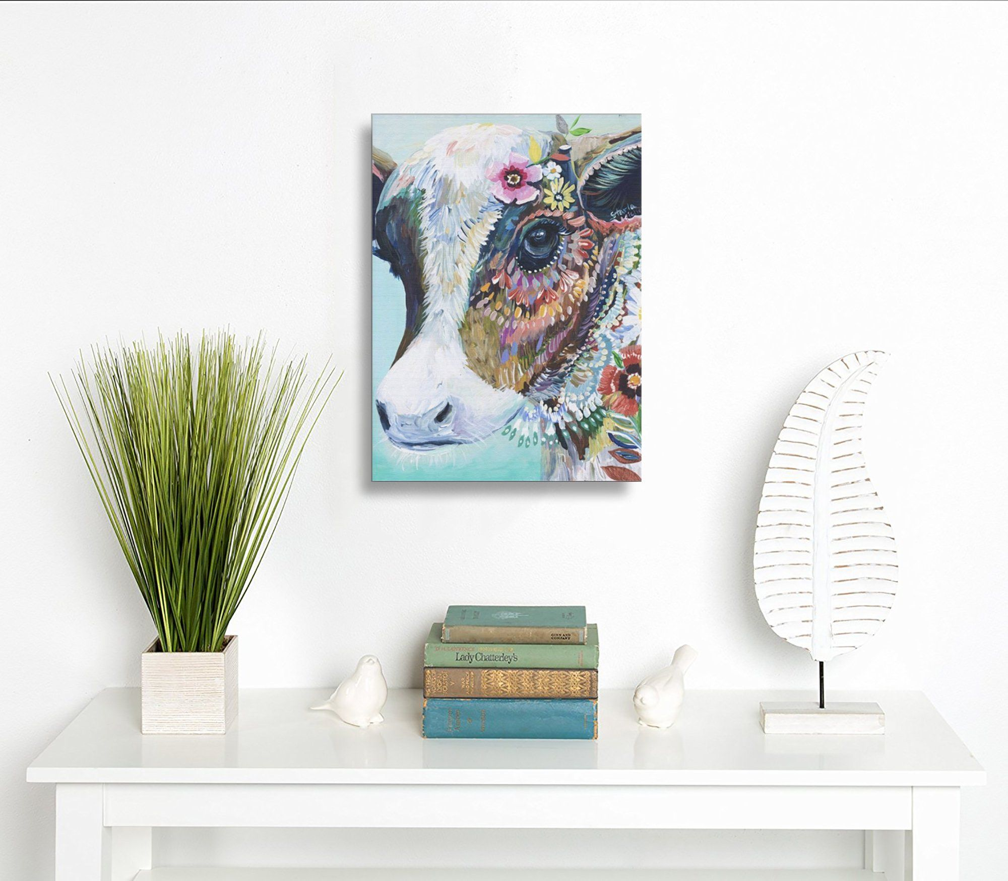 Martoostore Art Colorful Animals Cow Funny Decorative Artwork Abstract Oil Paintings On Canvas Wall Art Cow Painting Framed Oil Painting Oil Painting Abstract