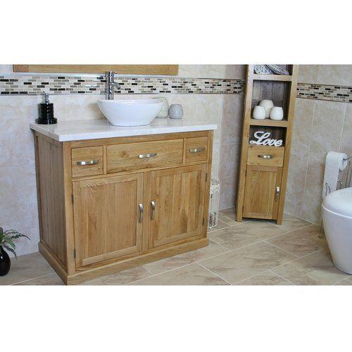 Belfry Bathroom Maximilian Solid Oak 1000mm Free Standing Vanity Unit Vanity Units Free Standing Vanity Bathroom Vanity Units