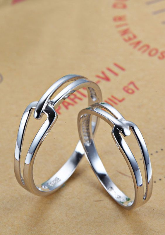 c39a56e3c3 Matching Simple Interlocking Promise Rings for Couples, Cheap Wedding Rings  in 925 Sterling Silver, His and Hers Cute Jewelry Set for Girlfriend ...