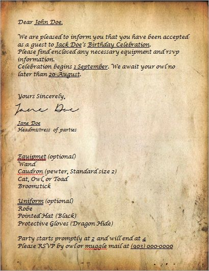 Harry Potter Acceptance Letter style invitation can be redone for - celebration letter
