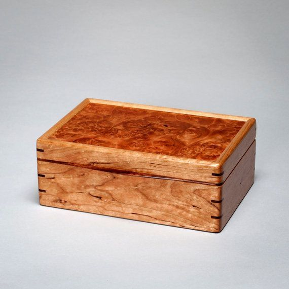 Large Keepsake Box Wooden Mens Box Treasure Box Knick Knack Box Mens Valet Box. Cherry with Roble Burl Lid. The Keeper 0215-013-008 #knickknack