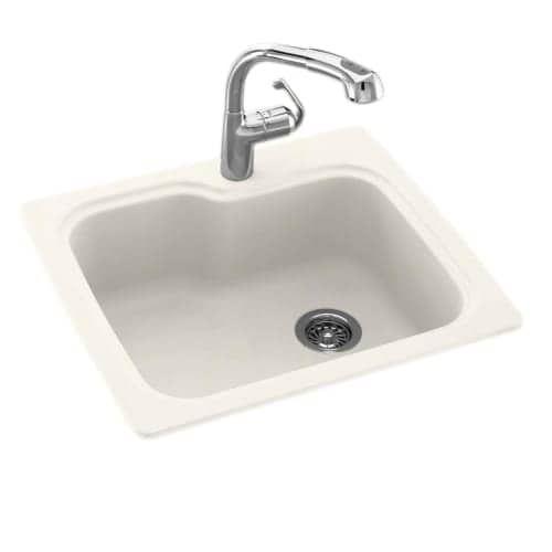 Swanstone Kssb-2522 21 Single Basin Drop-In / Undermount Engineered Stone Kitchen Sink (tahiti white - Three holes)
