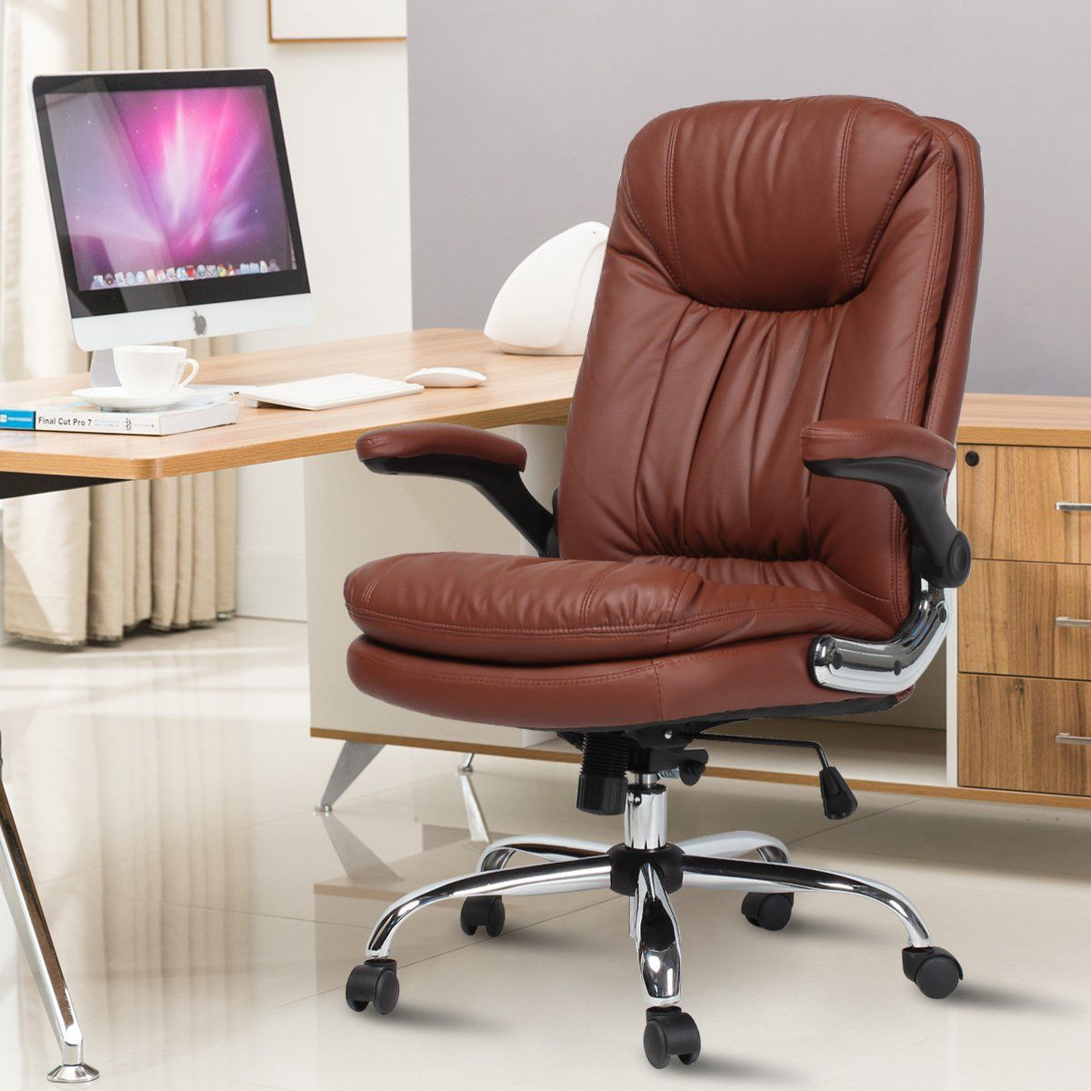 Ergonomic Office Desk Chairs Computer Gaming Chair Pu Leather Chair Brown Executive Computer Chair S In 2020
