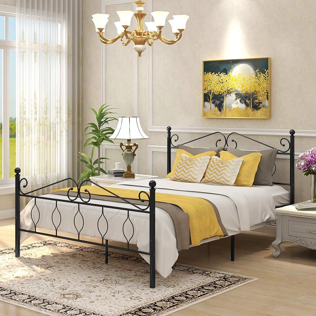 Queen Size Bed Frame Victorian Vintage Style Platform