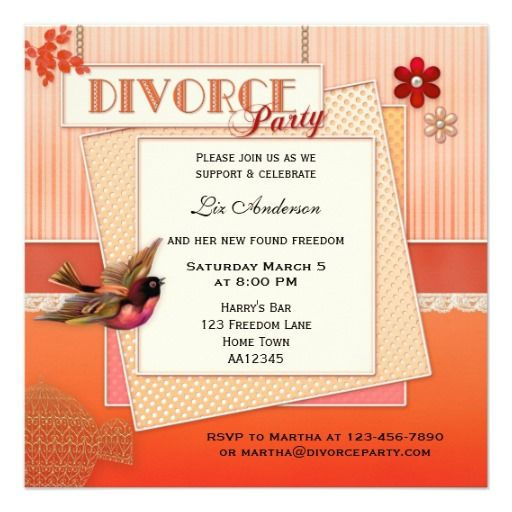 Vintage Bird Divorce Party Invitation