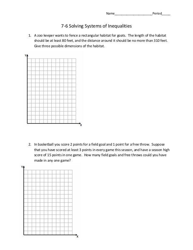 Solving Systems Of Inequalities Worksheet 7 6 Systems Of ...